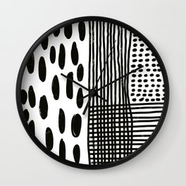 Play minimalist abstract dots dashes and lines painterly mark making art print Wall Clock