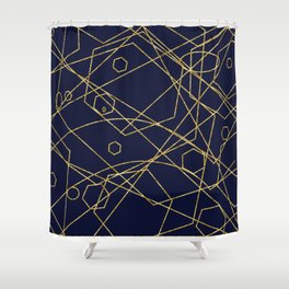Geo Gold Blue Abstract Shower Curtain