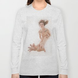 3524-KLM Bare Feet Up Toes Spread Foot Woman on White Long Sleeve T-shirt