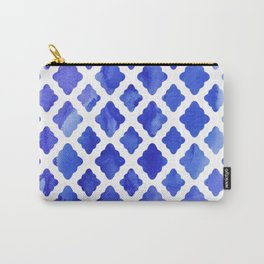 Watercolor Diamonds in Cobalt Blue Carry-All Pouch