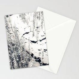 Snow on Textures of Pine Trees and Cliffs Stationery Cards