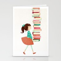 library Stationery Cards featuring Library Girl by Stephanie Fizer Coleman