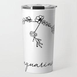 Aquarius Floral Zodiac Constellation Travel Mug