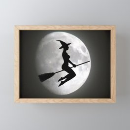 Witch On a Broom Against the Moon Framed Mini Art Print