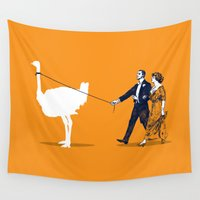 ostrich Wall Tapestries featuring Walking the Ostrich by rob art | simple