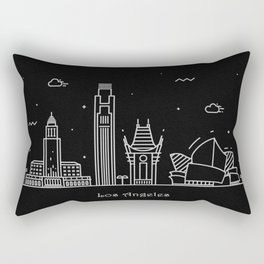 Los Angeles Minimal Nightscape / Skyline Drawing Rectangular Pillow