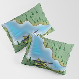 Lake Varese Italian travel poster. Pillow Sham