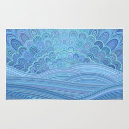 Blue Mandala Sunset at the Ocean Rug
