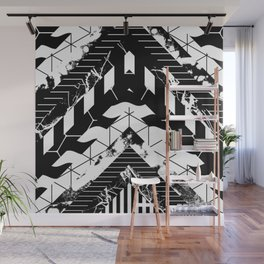 Layered (Black and white, abstract, geometric designs) Wall Mural