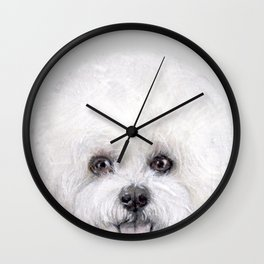 Bichon illustration, Dog illustration original painting print Wall Clock