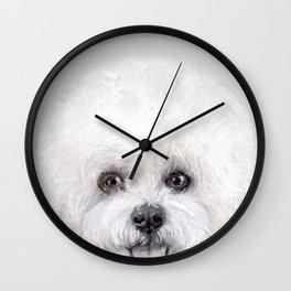 Bichon illustration, Dog illustration original painting print Wall Clock