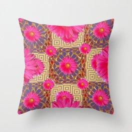 Fuchsia Gerbera Flowers & Grey Patterns Throw Pillow