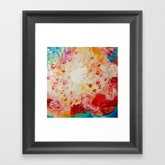 SUMMER DAYS Feminine Pretty Pink Red Peach Abstract Acrylic Painting Whismical Nature Color Splash Framed Art Print