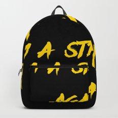 I'm a stranger Yellow on Black Writing Backpack