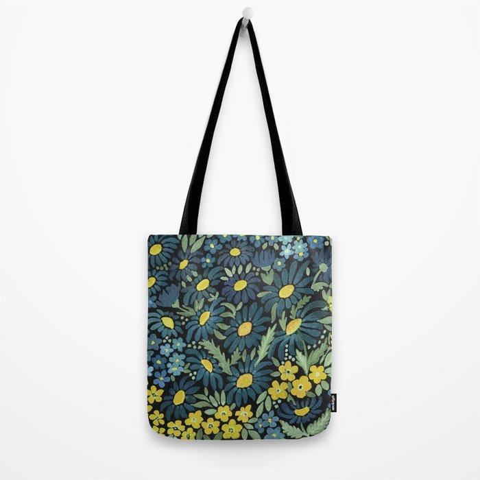 Watercolor . Blue daisies . Tote Bag