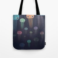 jellyfish Tote Bags featuring Jellyfish by Andrew Fox