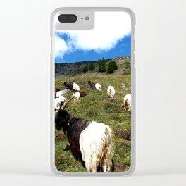 Swiss Goats on the way from Zermatt Clear iPhone Case