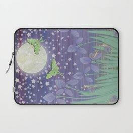Moonlit stars, luna moths, snails, & irises Laptop Sleeve
