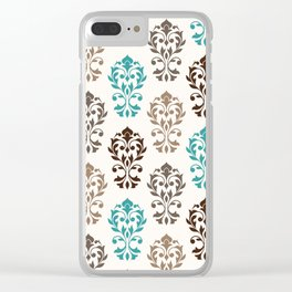 Heart Damask Art I Browns Teal Cream Clear iPhone Case