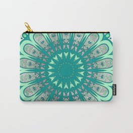 Minty Fresh Mandala - Mint, Teal, and Sparkly Silver Carry-All Pouch