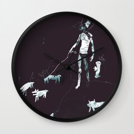 Two-head walking his dogs Wall Clock
