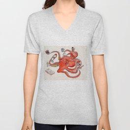 Olive the Octopus Barista Unisex V-Neck