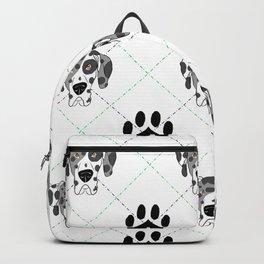 Merle Great Dane Paw Print Pattern Backpack