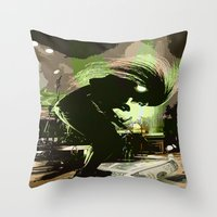 rock n roll Throw Pillows featuring Rock N Roll by DTGTEEZ