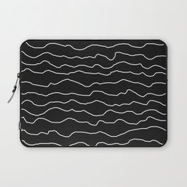 Black with White Squiggly Lines Laptop Sleeve