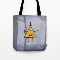 bill cipher Tote Bags featuring Bill Cipher by Ryn-the-Obsessed