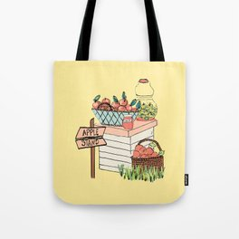 Apple Stand on Yellow Tote Bag