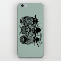 feathers iPhone & iPod Skins featuring Owls of the Nile by Rachel Caldwell