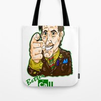 better call saul Tote Bags featuring Better Call Saul...  Attorney Saul Goodman from Breaking Bad  by beetoons