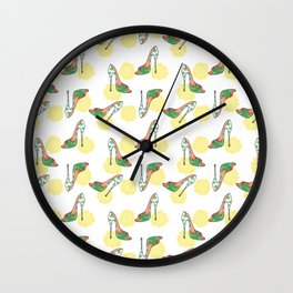 Green Polka Dot Watercolor Stiletto Wall Clock