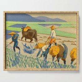 Asano Takeji Rice Transplantation Vintage Japanese Woodblock Print Asian Farmers Sedge Hat Serving Tray