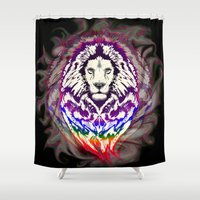 psychedelic art Shower Curtains featuring Lion Psychedelic Pop Art by BluedarkArt