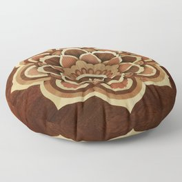 Buddha mandala wood marquetry Floor Pillow
