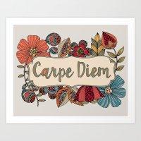 carpe Art Prints featuring Carpe Diem by Valentina Harper