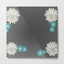 Gray,blue flowers Metal Print