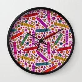 Crayon Print Wall Clock