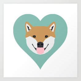 Shiba Love - Heart shiba inu funny dog for dog lovers pet gifts customizable dog meme dog person Art Print