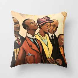 African American Portrait 'Churchgoers' by J. Andre Smith Throw Pillow
