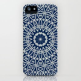 Mandala Bohemia Mosaic Navy Grey iPhone Case