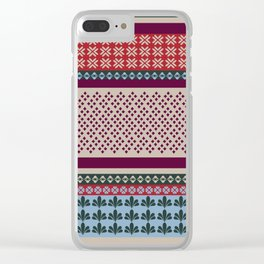 Ethnic Bohemian Quilt Motif Pattern Clear iPhone Case