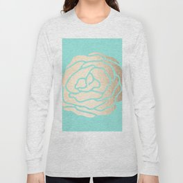 Rose in White Gold Sands on Tropical Sea Blue Long Sleeve T-shirt