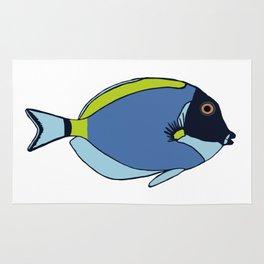 Powder Blue Tropical Fish Illustration Rug