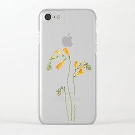 orange freesia watercolor Clear iPhone Case