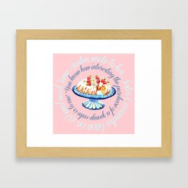 Jane Austen quote about sponge cake // watercolor cake Framed Art Print