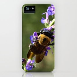 Bumble Bee on purple iPhone Case
