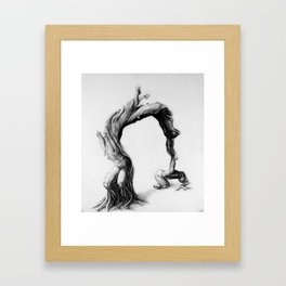 Tree people figure stretching reaching olive tree Framed Art Print